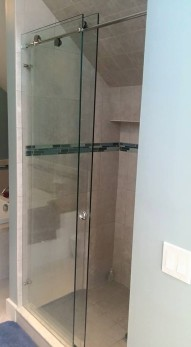 """Skyline"" shower enclosure with 3/8"" clear glass."