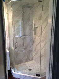 "Neo-angle shower enclosure with 3/8"" clear glass."