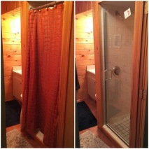Before & after - this small bathroom feels more spacious after replacing the shower curtain with a single glass door (Uptown Grand series by Cardinal Shower Doors).