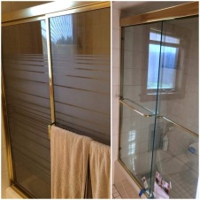 Before & after - after removing the framed slider with obscure glass and replacing it with a semi-frameless unit with clear glass, this bathroom instantly feels more modern.