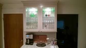 GNA (German New Antique) glass installed in a client's cabinet doors.